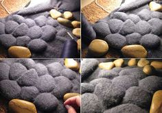 floor rug made with pebbles and fabric to massage your feet