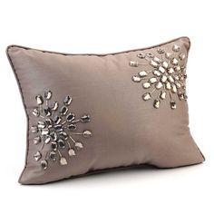 Grey Jewel Pillow from Kirkland's Red Throw Pillows, Diy Pillows, How To Make Pillows, Handmade Pillows, Throw Pillow Covers, Decorative Throw Pillows, Bed Cover Design, Cushion Cover Designs, Pillow Design
