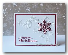 handmade Christmas card ... clean and simple look ... red and white .. snowflake embossing folder mat ... red punched snowflake and stamped MERRY CHRISTMAS ... Stampin' Up!