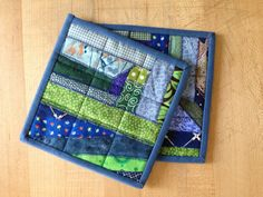 Square crazy patch pot holders / hot pads : green, blue on Etsy, $10.50