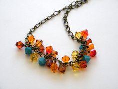 Colorful Swarovski Necklace Swarovski by BuddingCreations1 on Etsy