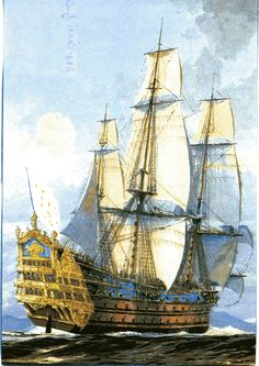 """линкор """"Солей Руайян"""" Anglo Dutch Wars, Luis Xiv, Old Sailing Ships, Sea Pictures, Ship Drawing, Man Of War, Ship Paintings, Naval History, Wooden Ship"""