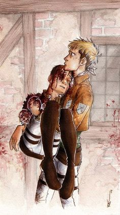 Attack on Titan ~~ Jean refused to allow anyone else to touch Marco's body. It pained him greatly to carry his dearest comrade this last time. If only his equipment hadn't broken... If only Marco stayed with his own squad... If only... if only... if only...
