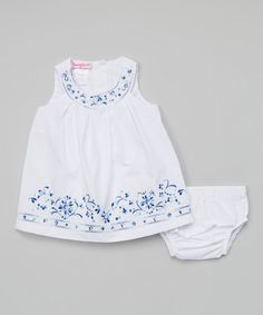 Take a look at this White Embroidered Yoke Dress by Nannette on #zulily today!