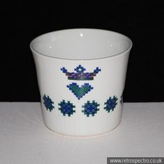 "A small Figgjo Flint pot or beaker in the ""Menu"" pattern. Planter Pots, Menu, Tableware, Vintage, Menu Board Design, Dinnerware, Tablewares, Vintage Comics, Dishes"