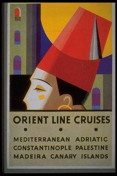 Art Deco poster for Orient Line Cruises Disneyland, Wall Art Wallpaper, Art Deco Posters, Poster Ads, Illustrations, Illustration Essay, Vintage Travel Posters, Vintage Cards, Vintage Advertisements