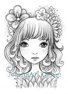 On My Mind by smallandround on Etsy (Art & Collectibles, Drawing & Illustration, Pen & Ink, Jeremiah Ketner, Stamp Art, One-Of-A-Kind, Digi Art, Digital Stamp, Hand Coloring, Coloring, Markers, Ink Drawings, Flowers, Dreamy, cute)