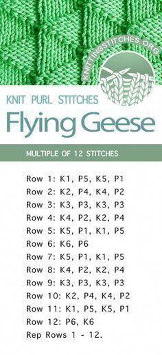 #KnittingStitches -- Flying Geese Stitch Pattern. Free Knitting Stitches - FREE written instructions. #knittingpatterns Dishcloth Knitting Patterns, Knitting Stiches, Knitting Needles, Free Knitting, Knit Stitches, Knitting Machine, Baby Blanket Knitting Pattern Free, Embroidery Stitches, Loom Knitting Blanket