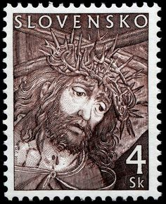 2000 postage stamp from Slovensko:  republic in central Europe: formerly a part of Czechoslovakia; under German protection 1939–45; independent since 1993. 18,931 square miles. RESEARCH #DdO:) - EASTER postal reminder of Jesus Christ on cross, Crucifixion - PEN SKETCH. Population of  5.41 million in 2013.