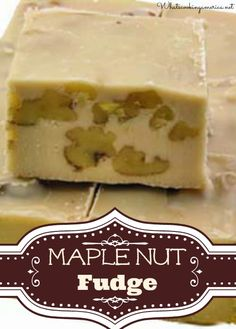 You will love this very rich and delicious maple nut fudge. Canadians have known the secret of how wonderful maple fudge tastest. Maple Nut Fudge Recipe, Maple Syrup Recipes, Chocolates, Candy Recipes, Holiday Recipes, Dessert Recipes, Just Desserts, Delicious Desserts, Yummy Food