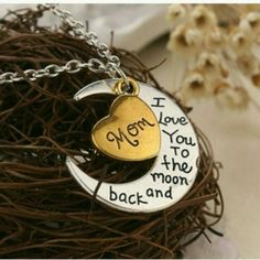 $15 Mom I Love You to the Moon and Back Necklace What a perfect way to show your mom how much you love her! This cute necklace will make a great gift for any occasion!   Material: zinc alloy. chain length roughly 21 inches. COMING SOON Jewelry Necklaces