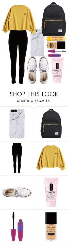 """""""lazy look"""" by justdela ❤ liked on Polyvore featuring Herschel Supply Co., River Island, Converse, Clinique, Maybelline, Wet n Wild and Burt's Bees"""
