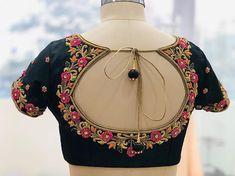 #pinknblack#zardosiembroidery#handembroidery#kanchivaram#silksaree#designer#designerblouse#floral#simple#elegant