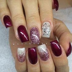 Påfyllning/förstärkning på naturliga naglar med Black Cherry 098, rosé & crystal white-glitter ...