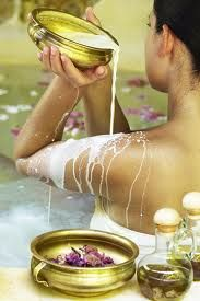 Cleopatra's Milk & Honey Bath Recipe ~ 2 cups of milk, 1 cup of honey, 1/4 of a cup of baking soda, 1 cup of Epsom Salt (natural healing agent, detoxifier, skin emollient and exfoliate), 1/2 cup of baby oil, A few drops of your favorite essential oil.