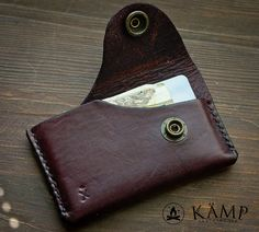 Wallet / card holder made from veg tanned leather. It is dyed dark red (color name is dark cherry) and oiled, so it will create nice patina over