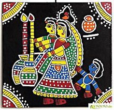 The earliest Indian paintings were the rock paintings of pre-historic times, the petroglyphs as found in places like Bhim. Madhubani Paintings Peacock, Madhubani Art, Indian Art Paintings, Mural Painting, Mural Art, Fabric Painting, Murals, Indian Traditional Paintings, Traditional Art
