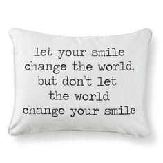 Smile Script Decorative Throw Pillow - Wht/Blk
