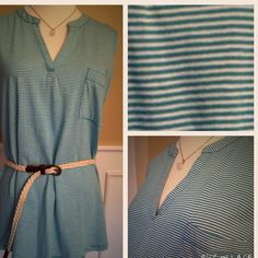 LIZ Claiborne sleeveless top Teal and white striped v-neck top. Pocket in front. 60% cotton. So light and comfortable. Very good qualityBelt not included. Liz Claiborne Tops