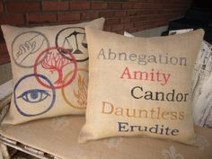 Divergent Inspired Burlap Pillow Set - Faction Symbols and Names - Abnegation - Amity - Candor - Dauntless - Erudite! Amazing but $60.00
