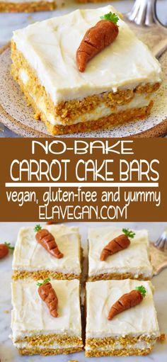 No-Bake Carrot Cake Bars - No-bake carrot cake recipe. This vegan carrot cake is great for breakfast or as a dessert. It's vegan, gluten-free, refined sugar-free, easy to make, . Gluten Free Carrot Cake, Healthy Carrot Cakes, Healthy Dessert Recipes, Cake Recipes, Vegan Recipes, Fat Free Carrot Cake Recipe, Vegan Carrot Recipe, Bakery Cakes, Food Cakes