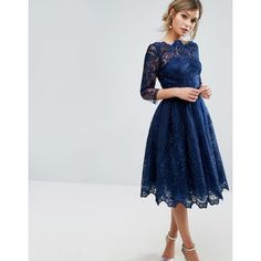 """""""""""Midi dress by Chi Chi London, Lined woven fabric, Embroidered lace overlay, High-cut neck, Zip-side fastening, Regular fit. true to size, Hand wash, 100% Po…"""