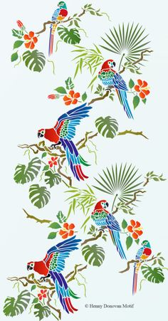 The Tropical Bird Parrot Theme Pack Stencil with tropical and exotic hibiscus and foliage, great for decorative stencil style for walls, furniture, fabrics. Tropical Fabric, Tropical Pattern, Tropical Art, Tropical Birds, Tropical Leaves, Exotic Birds, Colorful Birds, Bird Stencil, Stencil Painting