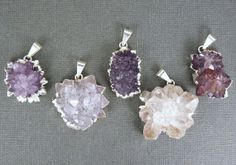 Amethyst Flower Cluster Pendant with Sterling by jewelersparadise, $16.95 i love the red-violet one