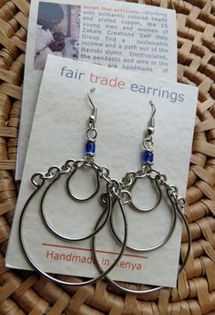 Silverplated Copper Wire Double Hoops with Beads Earrings handmade in Kenya, Fair Trade $12.99