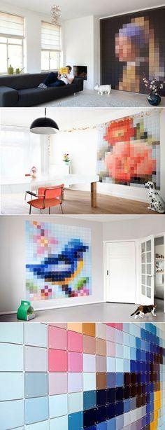 pixel art wall, muur die steeds veranderd kan zonder dat je steeds hoeft over te schilderen (wel genoeg blokjes maken)