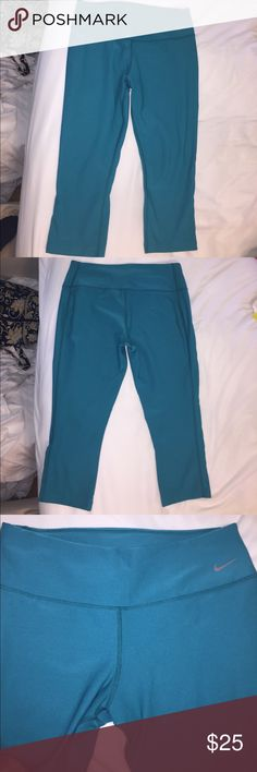 Nike Dri-Fit Workout Leggings Gently worn. Last two photos show true color. It's a greenish/blue color. Very comfortable. Nike Pants Leggings