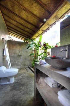 Outdoor bathroom.                                                                                                                                                                                 More