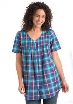 Plus Size Plaid pintuck big shirt tunic with relaxed fit