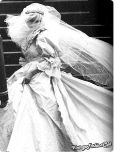 And last but not the least: Lady Di wedding dress, one of the most remarkable of the vintage wedding dresses styles.    Lady Diana Spencer marries Prince Charles on 29 July 1981. The gauche, former kindergarten assistant assistant instantly wowed an enraptured public with her fairy-tale dress of ivory silk, with bodice, voluminous skirt and long train designed by Elizabeth and David Emanuel. The Dress was widely copied and fuelled the trend for full skirts and puffed sleeves for eveningwear.
