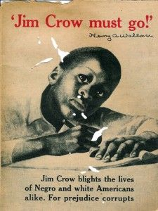 Poster protesting the Jim Crow laws. Plessy vs Ferguson was a challenge. It supported