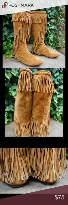 Sam Edelman tall suede fringe boots size 8.5 Awesome pair of Sam Edelman tall suede fringe boots size 8.5! Overall good gently used condition, small minor damage to back right heel however not noticeable due to fringe. Make a reasonable offer!! Sam Edelman Shoes