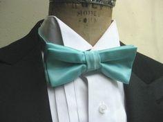 Bow Tie - Tiffany Blue Satin, pre tied bowtie, groom, groomsmen, wedding, formalwear, prom
