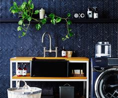 Be inspired to redecorate the laundry. Check out our stylish ideas for small spaces, smart appliances, hardwearing finishes and ingenious storage solutions. Beautiful Interiors, Beautiful Homes, Wooden Shelves, Storage Solutions, Laundry Room, Small Spaces, Stylish, Inspiration, Furniture