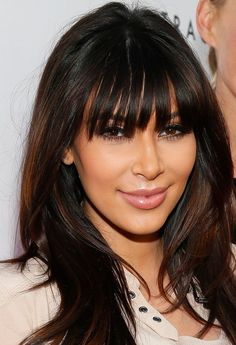 Kim Kardashian Haircuts: 2014 Long Hairstyles for Blunt Bangs
