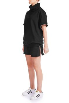 Could be worn up as high-waist or down or a boyfriend shorts. Cut from high quality black cotton terry. The comfortness is all we are after. Boyfriend Shorts, Black Cotton, Hate, Women Wear, Normcore, Turtle Neck, Model, How To Wear, Fashion