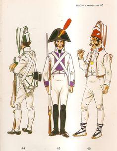 Spanish; Line Infantry, 1808. L to R Regt. Asturias, Fusilier, Internal Guard Uniform,Regt Princesa, Fusilier & Grenadier(unspecified regt) in Barrack Dress.