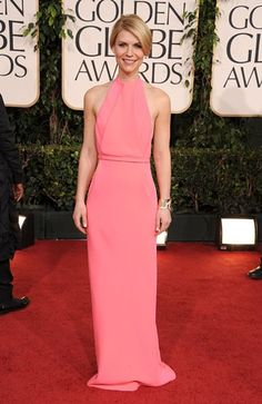 Claire Danes in Calvin Klein Collection. Great line.  Fairly certain I had a Barbie with a dress just like this.