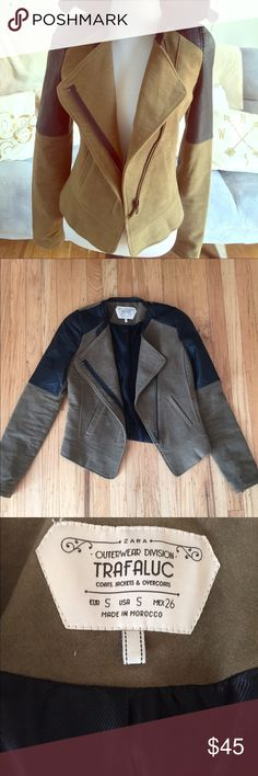 ✨ NWOT✨ Zara Trafaluc Army Green & Black Jacket I love this jacket. It was a poshfind for me that unfortunately doesn't fit 😫 the seller said it was new and it looks to be so. Super nice jacket perfect for this fall with green suede and faux leather detailing 👌 sized small but fits more like an xs in my opinion Zara Jackets & Coats