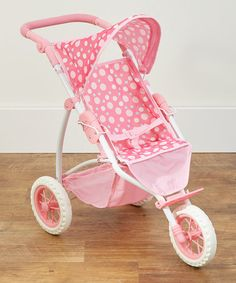 $43 - This Pink Polka Dot Single Doll Stroller is perfect! #zulilyfinds
