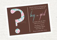 Invitation Wording - simplistic: Scarlett and James are Expecting! Join us for the big reveal    boy or girl