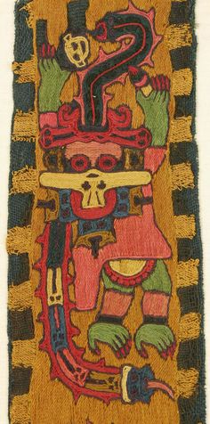 * Woven border fragment (detail), Peru, Nazca Culture, 100 BC – 200 AD, fine camelid wool with overall embroidery