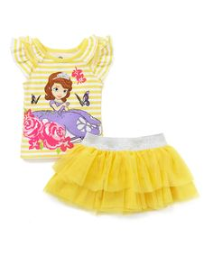 Love this Yellow Stripe Sofia the First Tee & Skirt - Toddler by Sofia the First on #zulily! #zulilyfinds