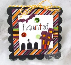 Haunted 3x3 Notecard by Joan Ervin #Cardmaking, #LittleBitsDies, #3x3Notecards, #Halloween