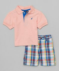 Love this Camelia Polo & Blue Plaid Shorts - Infant, Toddler & Boys by Nautica on #zulily! #zulilyfinds