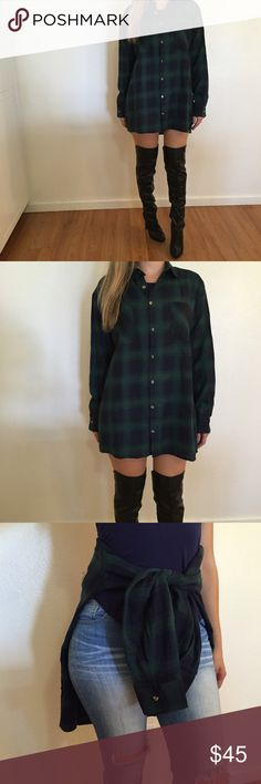 - LAST ONE - Oversized Boyfriend Flannel Such a cute fall and winter piece. This can be worn so many ways. With faux leather leggings, tied around the waist with jeans, and with a pair of high socks. Brand new with tags. Never own. A one size fits all. No trades. No offers will be considered unless made through the offer button. Bundle for discount. Thank you! Tops Button Down Shirts